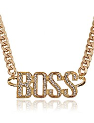 cheap -Women's Oversized Rhinestone Imitation Diamond Pendant Necklace  -  Oversized Fashion Irregular Gold Silver 50cm Necklace For Party /