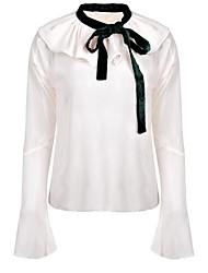 Недорогие -Жен. С принтом Рубашка, Рубашечный воротник Однотонный Вспышка рукава