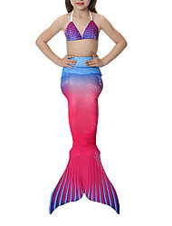 cheap -The Little Mermaid Bikini Swimwear Kid's Girls' Halloween Carnival Festival / Holiday Halloween Costumes Blue Pink Yellow+Blue