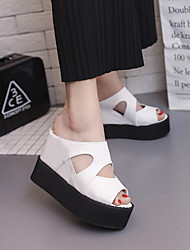 cheap -Women's Shoes PU Spring Summer Comfort Sandals Wedge Heel Open Toe for Casual White Black