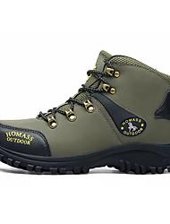 baratos -Homens sapatos Pele Nobuck Primavera Outono Conforto Tênis Aventura para Ao ar livre Preto Verde Tropa
