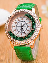 baratos -Mulheres Relógios Femininos com Cristais Chinês Quartzo Relógio Casual Couro Banda Colorido Fashion Preta Branco Azul Vermelho Marrom