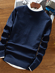 cheap -Men's Plus Size Wool Pullover - Solid V Neck