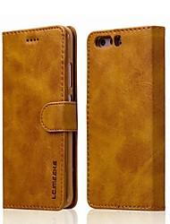 baratos -Capinha Para Huawei P9 Lite P10 Plus Porta-Cartão Carteira Capa Proteção Completa Côr Sólida Rígida PU Leather para P10 Plus P10 Lite P10