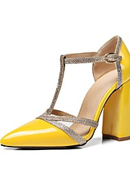 cheap -Women's Shoes Patent Leather / Leatherette Spring / Summer Novelty / D'Orsay & Two-Piece Heels Chunky Heel Pointed Toe Sequin / Buckle