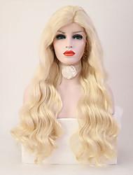 Недорогие -Синтетические кружевные передние парики Волнистый Блондинка Стрижка каскад Искусственные волосы Жаропрочная Блондинка Парик Жен. Длинные Лента спереди / Да