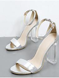 preiswerte -Damen Schuhe Künstliche Mikrofaser Polyurethan Frühling Sommer Pumps Komfort Sandalen Stöckelabsatz für Normal Gold Silber Champagner