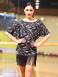 preiswerte -Latein-Tanz Kleider Damen Leistung Elasthan Quaste Horizontal gerüscht Halbe Ärmel Kleid