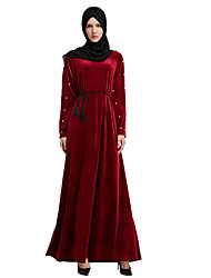 abordables -Femme Basique Kaftan Abaya Robe Couleur Pleine Maxi