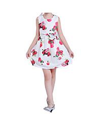 abordables -Robe Fille de Soirée Vacances Fleur Coton Acrylique Polyester Printemps Eté Sans Manches simple Mignon Blanc