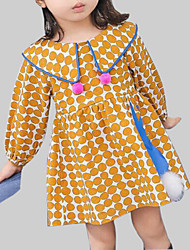 cheap -Girl's Daily Going out Polka Dot Dress, Rayon Spring Fall Long Sleeves Casual Street chic Yellow Royal Blue