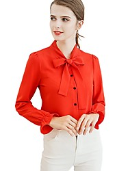 abordables -Mujer Vintage Blusa - Un Color, Lazo Jacquard Escote en Pico