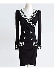 Недорогие -Жен. Облегающий силуэт Оболочка Платье - Однотонный, С разрезами Мини