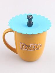 Недорогие -мультфильм кошка в форме = силиконовая крышка крышки кружки водонепроницаемый напиток колпачок
