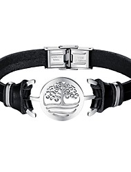 cheap -Men's Leather Cool Tree of Life Bracelet - Casual Black Bracelet For Daily Date