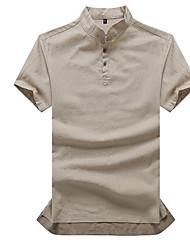 baratos -Homens Camiseta Básico / Temática Asiática Sólido Linho Delgado / Manga Curta