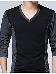 preiswerte -Herrn Solide-Aktiv Übergrössen Baumwolle T-shirt,V-Ausschnitt Schlank