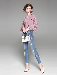 baratos -feminino, normal, de meia altura, micro-elástico, magro, jeans, calça, rua, chique, sólido, algodão, primavera, verão