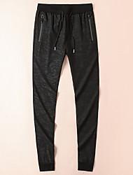 economico -pantaloni harem di media altezza micro-elastico da uomo, primavera in acrilico di fibra di bambù lino solido cotone vintage