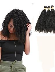 Недорогие -3 Связки Малазийские волосы Kinky Curly Remy Человека ткет Волосы Ткет человеческих волос Расширения человеческих волос / Кудрявый вьющиеся