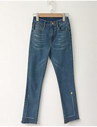 baratos -Mulheres Algodão Jeans Calças - Sólido Franjas Bordado