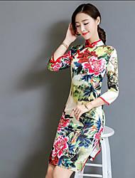 cheap -Women's Chinoiserie Shift Dress - Floral