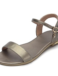 cheap -Women's Shoes Cowhide Spring Summer Comfort Sandals Walking Shoes Flat Heel Open Toe Buckle for Casual Outdoor Gold White Black Brown
