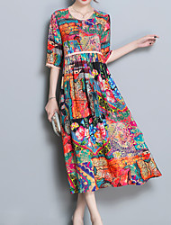 cheap -Women's Casual Sophisticated Loose Loose Dress - Floral, Print