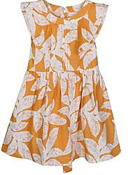 abordables -Robe Fille de Quotidien Fleur Coton Printemps Eté Sans Manches Mignon Décontracté Orange