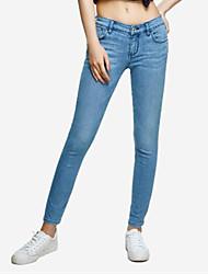 economico -pantaloni jeans micro-elasticizzati normali da donna di media altezza, semplice molla in cotone solido
