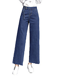 cheap -Women's Cotton Loose Wide Leg Jeans Pants - Solid Colored Basic High Waist