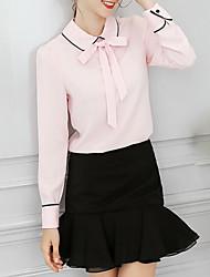 Недорогие -Жен. Классический Блуза, Рубашечный воротник Свободный силуэт Однотонный Полоски Рукава буффы