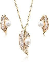 cheap -Women's Cubic Zirconia / Pearl Pearl / Zircon / Silver Plated Leaf Jewelry Set 1 Necklace / Earrings - Metallic / Elegant / Fashion Gold