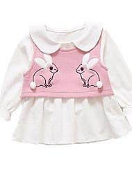 abordables -Robe Fille de Quotidien Couleur Pleine Géométrique Polyester Printemps Manches Longues simple Marron Rose Claire Gris Jaune