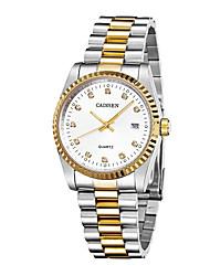 Недорогие -CADISEN Муж. Повседневные часы Нарядные часы Японский Кварцевый Нержавеющая сталь Белый / Золотистый 30 m Защита от влаги Календарь Повседневные часы Аналоговый Классика Эйфелева башня Мода -