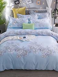 cheap -Duvet Cover Sets Floral 4 Piece Poly/Cotton Polyster Jacquard Poly/Cotton Polyster 1pc Duvet Cover 2pcs Shams 1pc Flat Sheet