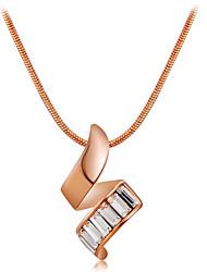 abordables -Femme Cristal Pendentif de collier - Or rose, Cristal Classique, Mode Or Colliers Tendance Pour Cérémonie, Formel