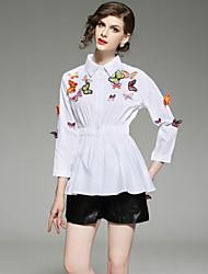 economico -Camicia Per donna Moda città Con stampe Con ricami,Tinta unita
