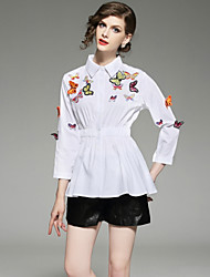 baratos -Mulheres Camisa Social Moda de Rua Estampado Bordado,Sólido