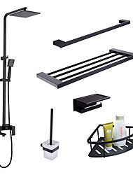 cheap -Faucet Set - Rain Shower Handshower Included Widespread Black Wall Installation Single Handle Three Holes