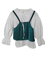 preiswerte -Mädchen Bluse Alltag Einfarbig Acryl Polyester Frühling Langarm Einfach Armeegrün