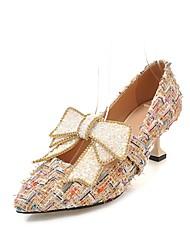 cheap -Women's Shoes Linen Spring / Summer Comfort / Novelty Heels Flared Heel Pointed Toe Bowknot / Sparkling Glitter White / Black / Almond
