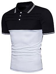 baratos -Homens Polo Estampa Colorida Algodão Colarinho de Camisa