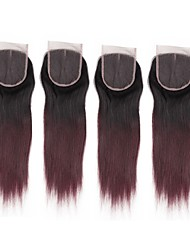 cheap -ALIMICE Women's Brazilian Straight 4x4 Closure With Baby Hair Weft Swiss Lace Remy Free Part Middle Part 3 Part Color Gradient