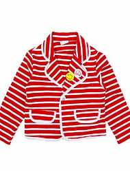 abordables -Costume & Blazer Fille Quotidien Vacances Rayé Coton Polyester Printemps Automne Manches Longues Actif Blanc Rouge
