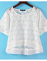 baratos -Mulheres Fofo Camiseta - Sólido, Renda Vazado Decote Redondo