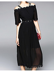 cheap -Women's Casual Chiffon Dress - Solid Color, Lace High Waist Strap Off Shoulder