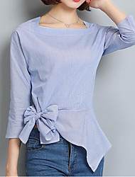 preiswerte -Damen Solide - Street Schick Arbeit T-shirt, Hemdkragen Quadratischer Ausschnitt Schleife