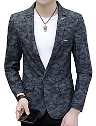 cheap -Men's Active Cotton Blazer-Camouflage,Print Notch Lapel