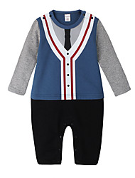 cheap -Baby Boys' Daily Holiday Geometric One-Pieces, Cotton Spring Summer Simple Active Long Sleeves Blue Light Blue